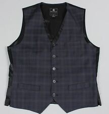 Guess Jean Mens L Navy Blue Plaid 5 Button Vest Waistcoat V101