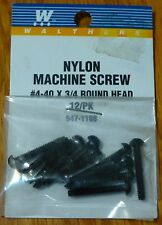 Walthers #947-1188 / Nylon Round Head Machine Screws pkg(12) -- 4-40; 3/4 x .112
