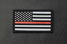 Thin Red Line US Flag Patch SOLAS Reflective & Black Fire & Rescue EMS EMT