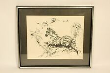 Vtg 1971 Zebra Etching 16 / 500 Limited Edition Art Print Glass Framed Signed