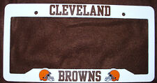 CLEVELAND BROWNS WHITE LICENSE PLATE FRAME PLASTIC ORANGE BROWN HELMETS NEW