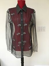 Alberta Ferretti Vintage Silver Mesh Embroidered Long Sleeve Blouse Size 10
