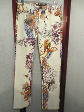 Just Cavalli wild flowers butterfly print crop jeans womens 24 Italy STRETCH