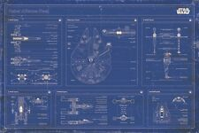 24x36 Star Wars Rebel Alliance Fleet Blueprint Schematic Poster