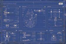24x36 Star Wars Rebel Alliance Fleet Blueprint Schematic Poster