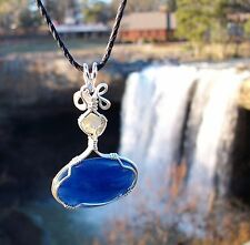 Blue Kyanite Lemuria Rhodizite Reiki Sterling Silver Wire Wrap Pendant -  Video