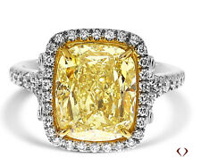 GIA 5.41CT Cushion Natural Fancy Yellow SI1 Diamond Ring 18KT White Gold