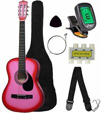 New Beginners Acoustic Guitar With Guitar Case, Strap,DIGITAL Tuner & Pick Pink
