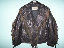 WILSONS Vintage Genuine Leather Men's Fringed Motorcycle Jacket size 44(SALVAGE)