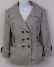 Banana Republic Women's Short Trench Jacket Size 14 Gray Cotton Blend 3/4 Sleeve