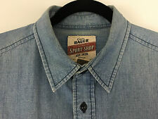 Eddie Bauer Sport Shop Mens Blue Hiking Camp Work Sport Denim Jean Shirt M