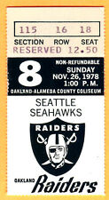11/26/78 RAIDERS/SEAHAWKS FOOTBALL TICKET STUB