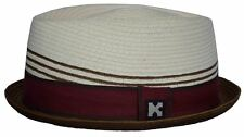 Upturn Diamond Crown Pork Pie Fedora-paper Straw-burgundy natural-xlarge