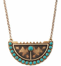 LUCKY BRAND Turquoise Accent Shield Pendant Gold-Tone Long Necklace $49 JLRY1936