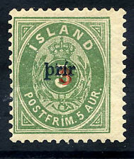 ICELAND 1897 3a. on 5a. surcharge Type I  perforated 12½ LHM / *