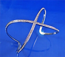 "STAINLESS STEEL CRYSTAL SET LARGE ""X"" CUFF BANGLE, 7"""