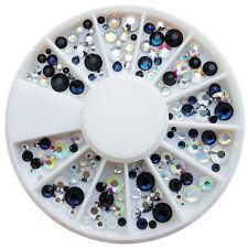 Strassstein Rondell Mix Schwarz Weiss Silber Nailart Nageldesign Perlen #00794