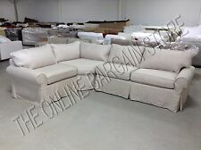 Pottery Barn pb basic Sectional sofa Slipcover flax basketweave slipcover 3pc