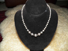 Vintage mexico sterling 925 Igurla handmade graduated round beads necklace