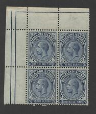 Falkland Islands. SG76b. 2 1/2d steel blue (pale shade). MNH corn marg block x 4