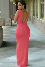 Celeb Salmon Pink Backless Jersey Maxi Dress Towie Size 8-10 FF Boutique