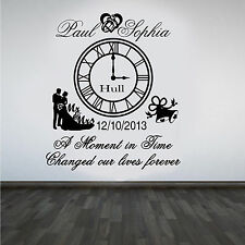 Personalised Wedding Clock Anniversary Keep Sake Wall Art Sticker/Decal#1