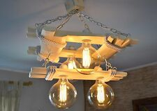 Aged wood ceiling lamp, wooden chandelier Edison type bulbs are included