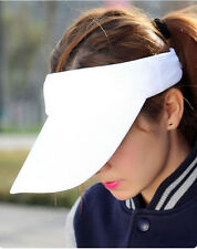 Visor Sun Plain Hat Summer Sports Cap Golf Tennis Beach Adjustable Unisex White