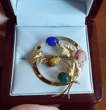 Vintage Art 12K Gold Filled Wreath Brooch Green Onyx Tiger's Eye Scarab 10a 42