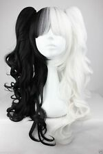 VOCALOID Miku Black White Mixed lolita wig Anime Split Type 2 Clip-in wigs