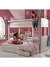 Georgie White Wash Bunk Bed with Storage and Trundle - RRP £439.00