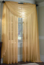 "2 GOLD VOILE SHEER PANELS WINDOW CURTAINS TREATMEN DRAPES 55 X95"" LONG"