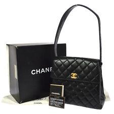 Auth CHANEL Quilted CC Logos Shoulder Tote Bag Black Leather Vintage V14745