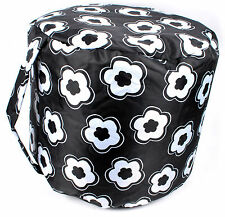 Cylinder Seat Filled Bean Bag Chair Foot Stool Rest Wipe Clean Pouffe Black