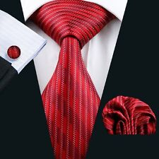 C-420 Wedding Red Stripe Necktie Mens Silk Classic Hankerchief Cufflinks Set