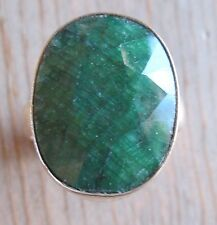 Fine Jewelry Woman's Ring, Sterling Silver w/Cabochon Emerald Gemstone, size 9.5