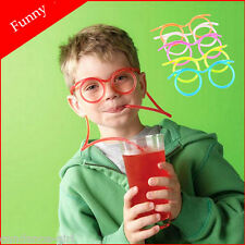 Kids Crazy Fun Novelty Flexible Glasses Drinking Straw Tube Gift Party Supplies