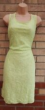 THERAPY NEON GREEN LACE CUT BACK PENCIL BODYCON TUBE FORMAL TEA DRESS L 14
