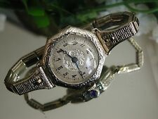 1920's Ladies Art Deco 14K Schild Watch~Sapphire Filligree Band ~ Runs
