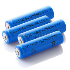 4×1300MAH 3.7V 14500 AA Li-ion Rechargeable Battery Blue For LED Flashlight