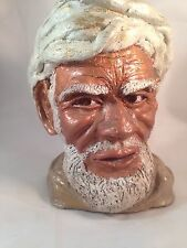 "Vintage ""Punjabi Villager"" Sculpture Head Bust Clay White Turban"