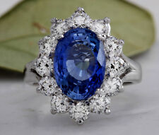 Estate 6.83Ct Natural Blue Ceylon Sapphire & Diamond 14K Solid White Gold Ring