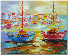 Boat Oil Painting - Hand Painted Palette Knife Seascape Fine Art On Canvas