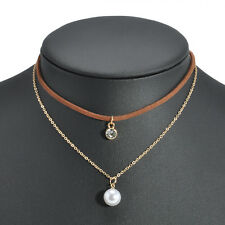 Women Fashion Velvet Gold Plated Chain Choker Pearl Rhinestone Pendant Necklace