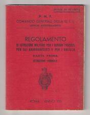 1938 Regolamento Istruzione Militare Giovani Fascisti Avanguardisti e Balilla