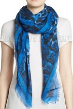 "ALEXANDER MCQUEEN blue ANIMALIER SKULL 52""-Square cashmere scarf NWT Authen $725"