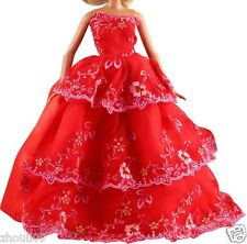 Handwork soft Princess Party Dress/Evening Clothes/Gown For Barbie Doll  1098