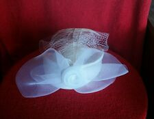 Mr. Charles off white hat bow flower feathers netting