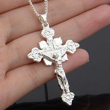 Men Women Fashion 925 Sterling Silver Cross Jesus Charms Pendant For Necklace P