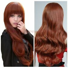 "Wine Red Long Women Wave Curly 28"" Fashion Heat Resistant Hair Wig Free Shipping"
